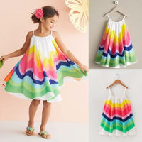2019 Toddler Colorful Dress Kid Baby Girl Summer Clothes Sleeveless Dress Rainbow Party Children Holdiay Beach Sunress