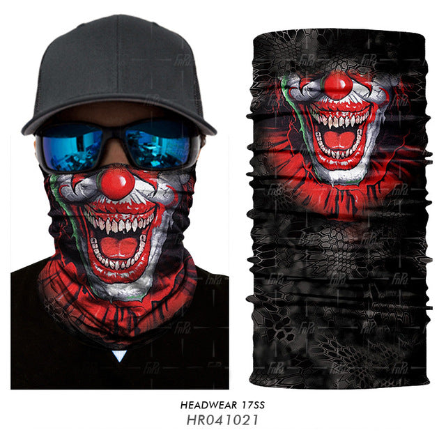 3D Halloween Bandana Face Mask, Ghost Skull Skeleton, 3D Scarf