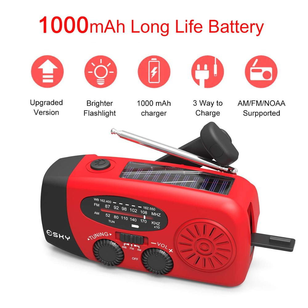 Hand Crank Solar Powered Emergency FM Radio 1000mAh Power Bank LED Flashlight