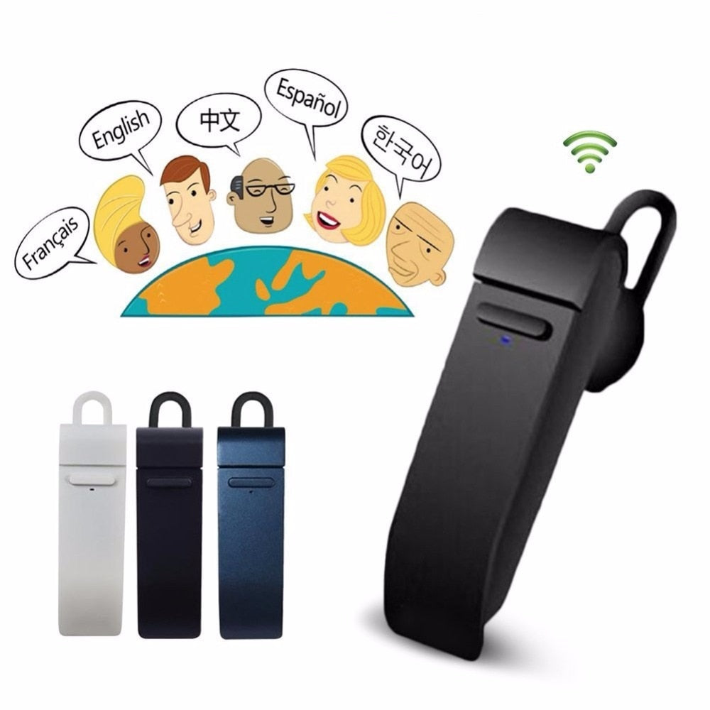Wireless Bluetooth Earphone Microphone 24 Languages Translator For Iphone & Android