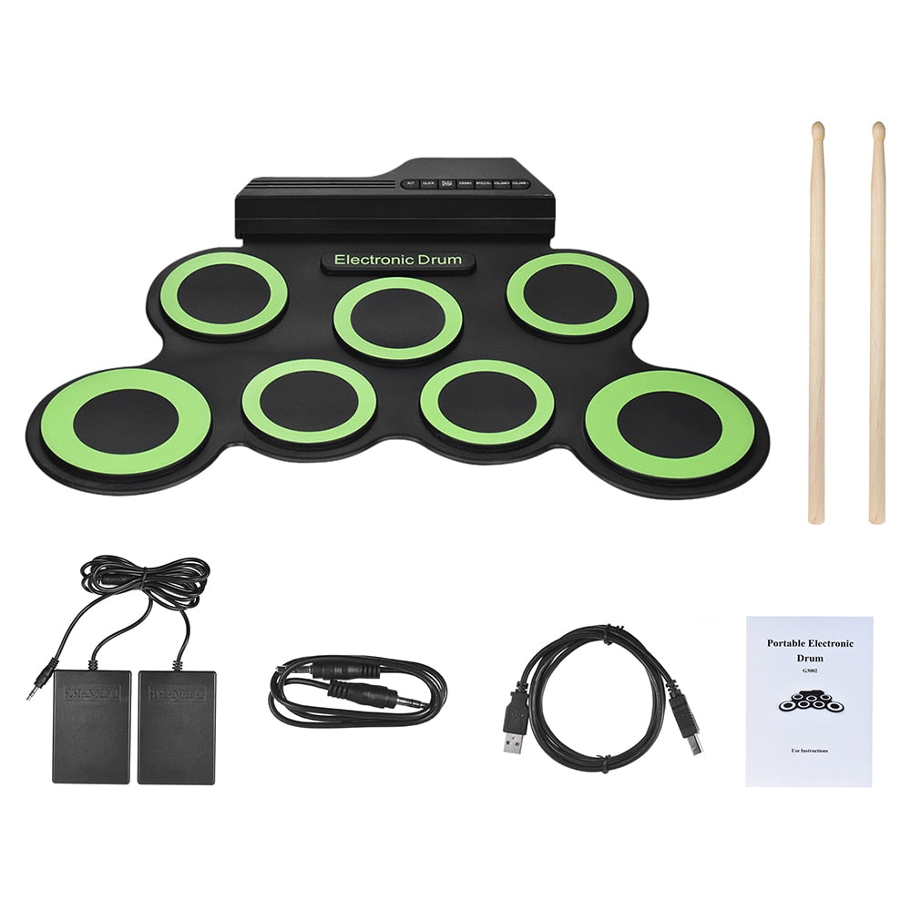 Portable Roll Up Electronic Drum Pad Set with Drum Sticks and Pedal