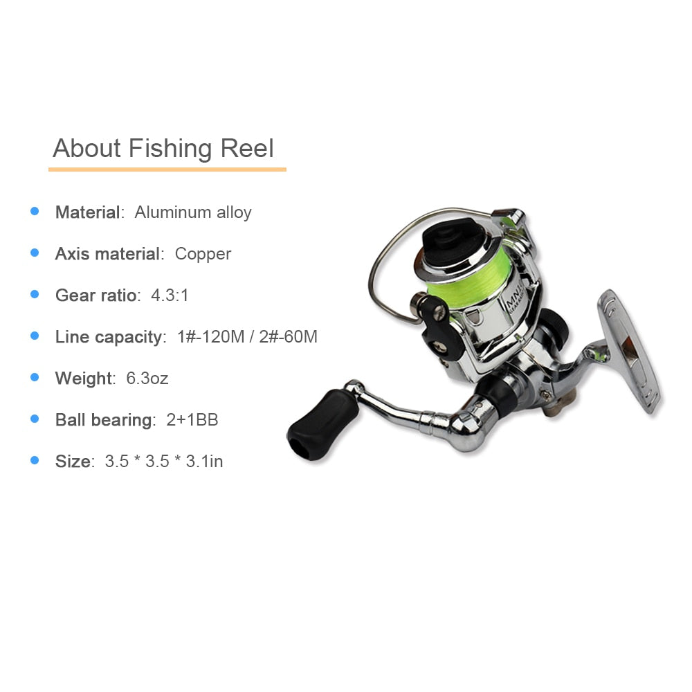 Portable Pocket Size Fishing Rod & Reel Combo - available in different colors