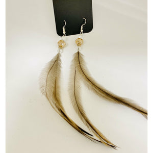 Earrings Emu feathers