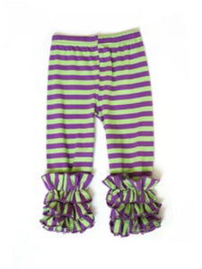 Green and Purple Striped Ruffle Pants