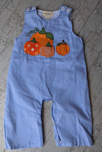 Gingham Blue Pumpkin Overall