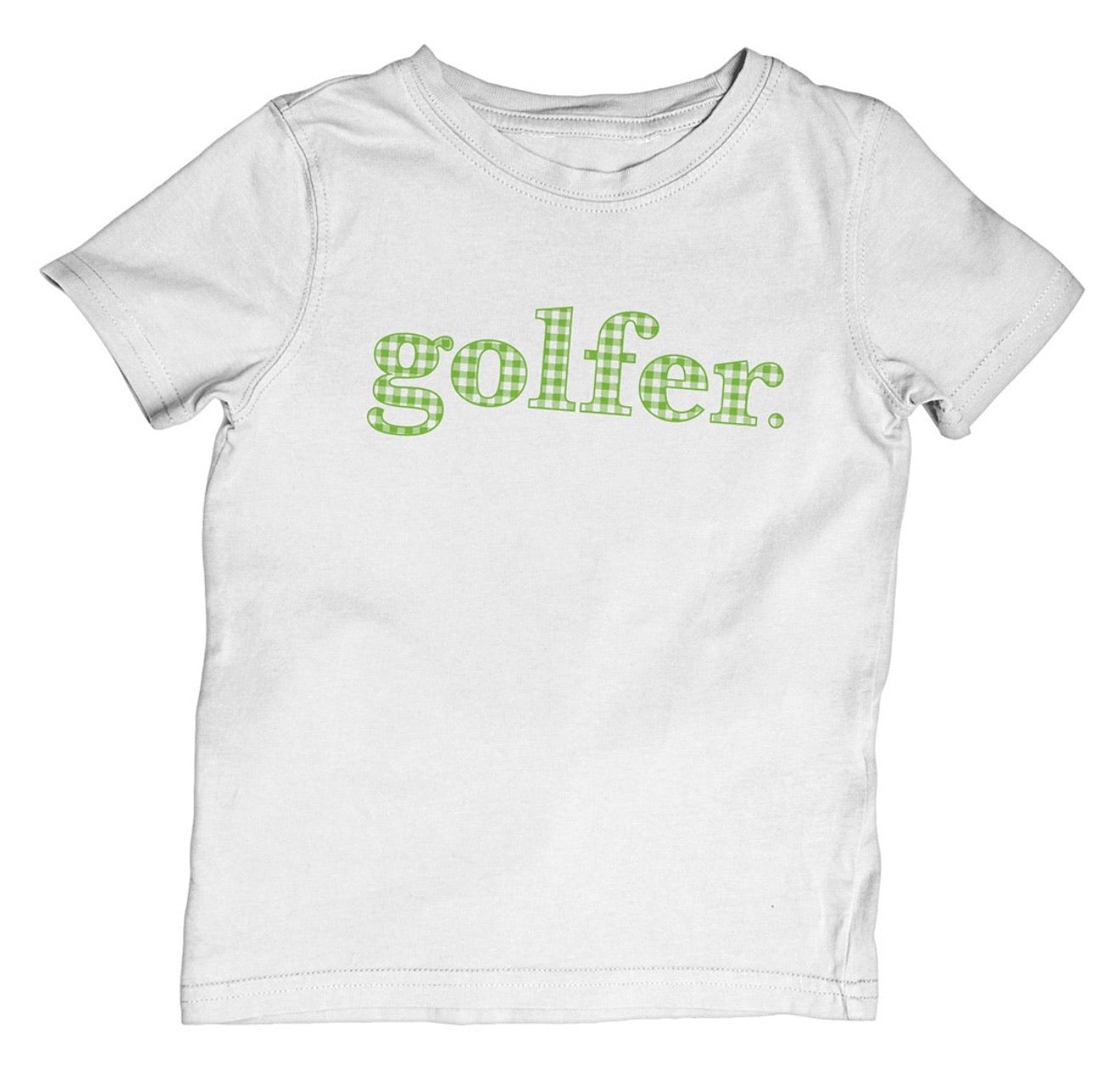 "The Littlest Golfer ""Golfer"" Gingham Tee"