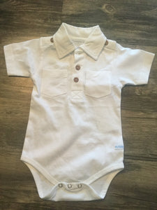 RuggedButts White Polo Onesie