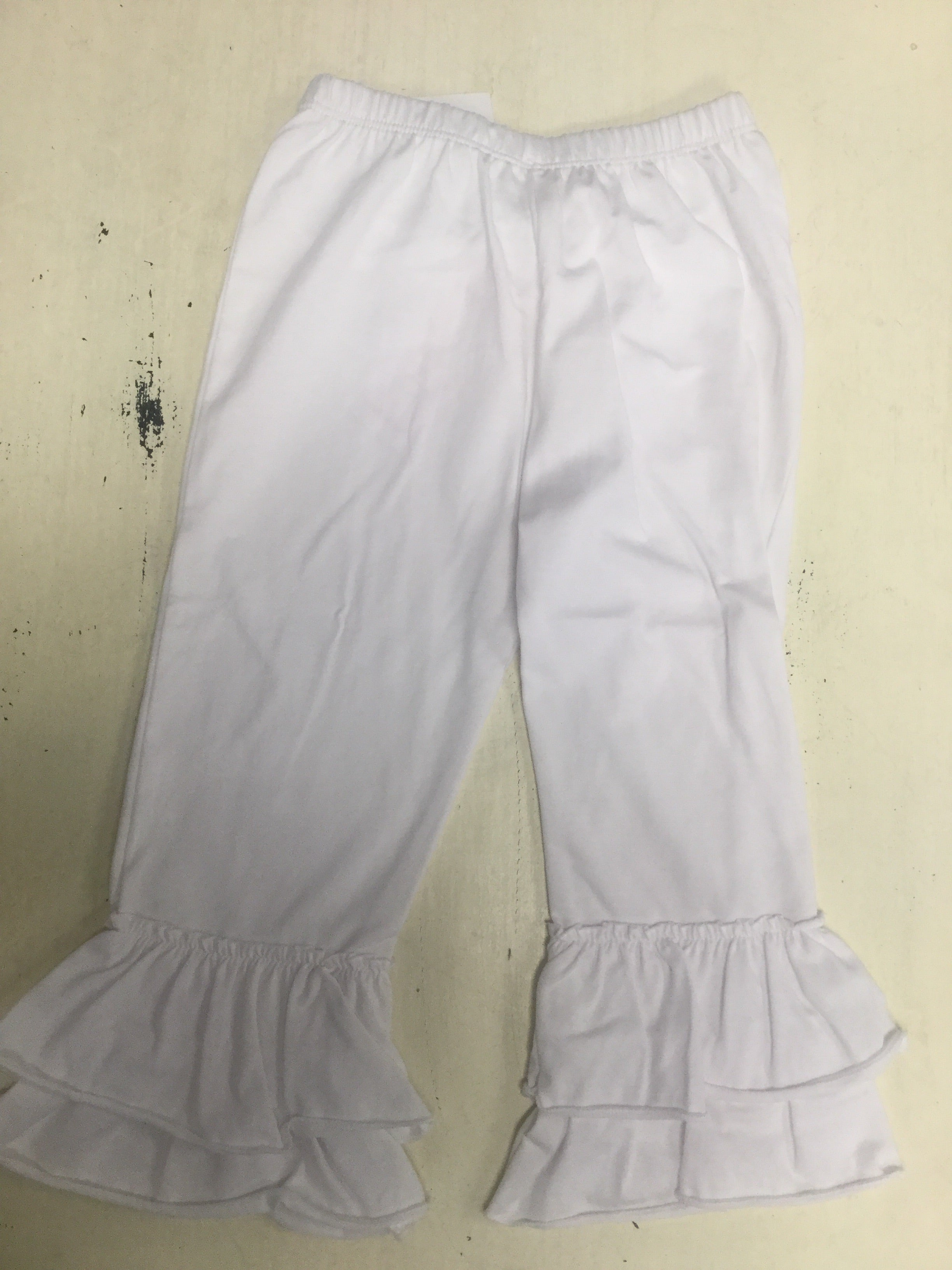 Tiered White Ruffle Pants