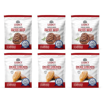Legacy Premium Freeze-Dried Diced Meat Variety 6 pack - Beef & Chicken Pouches