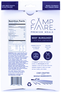 CampFare™ BEEF BURGUNDY WITH FIELD VEGETABLES - 24 Pack Case