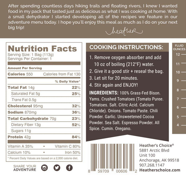 HEATHER'S CHOICE® DARK CHOCOLATE CHILI WITH GRASS-FED BISON - 25 PACK CASE