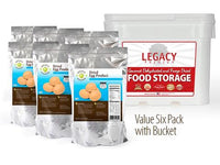 Image of 6 pack of 48 serving powdered egg pouches w/bucket