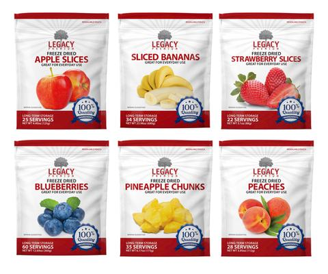 Image of apple, banana, strawberry, blueberry, pineapple, and peach packages