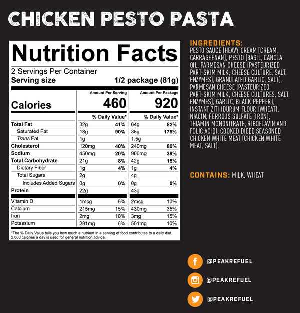 Peak Refuel Chicken Pesto Pasta (6-Pack Case)
