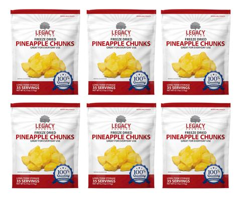 Image of 6 pack of 35 serving freeze-dried pineapple pouches