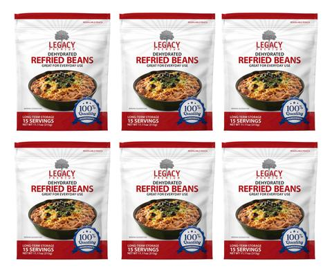 Image of 6 pack of 15 serving dehydrated refried beans pouches