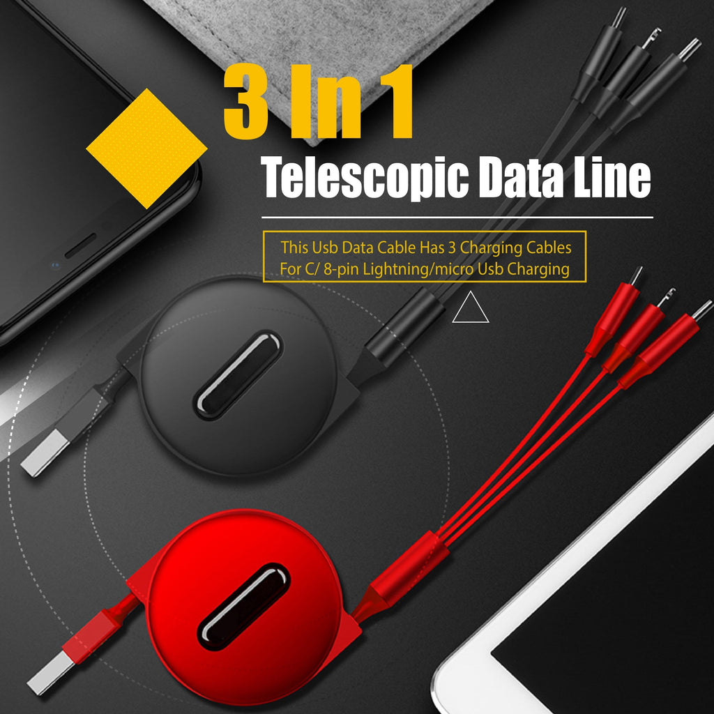 3 In 1 Telescopic Data Line