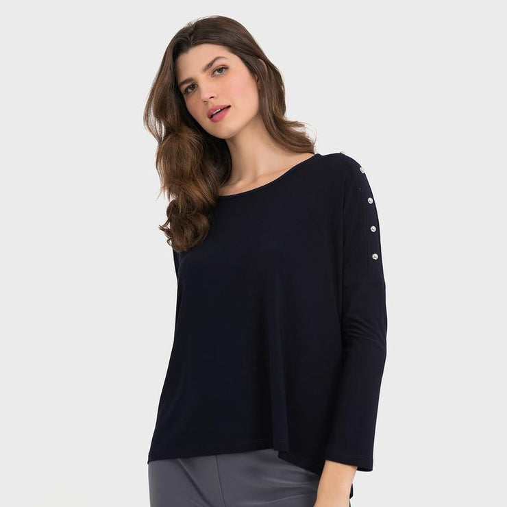 Joseph Ribkoff - Black Top With Studded Shoulders