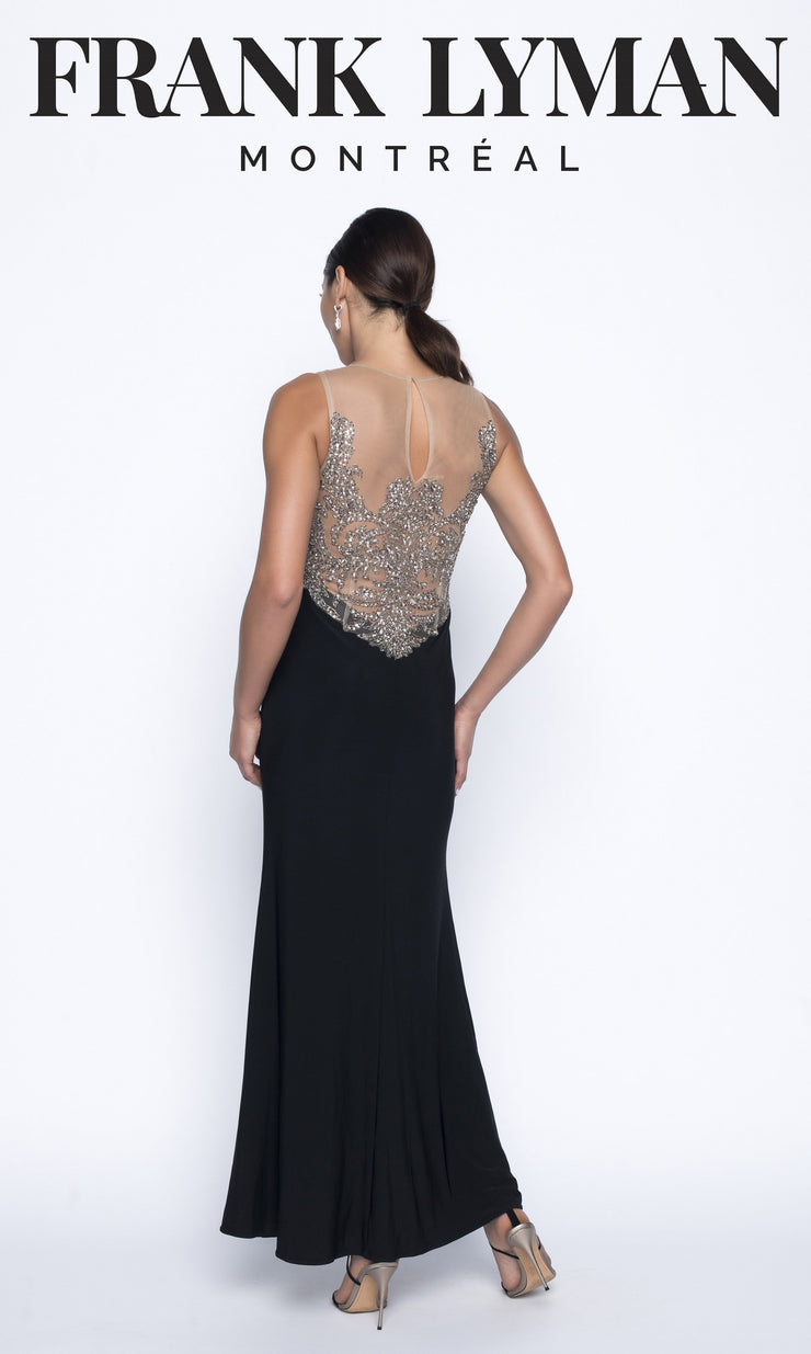 Beaded Bodice Illusion Gown