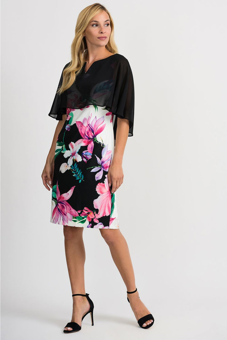 Chiffon Cape Overlay Floral Dress