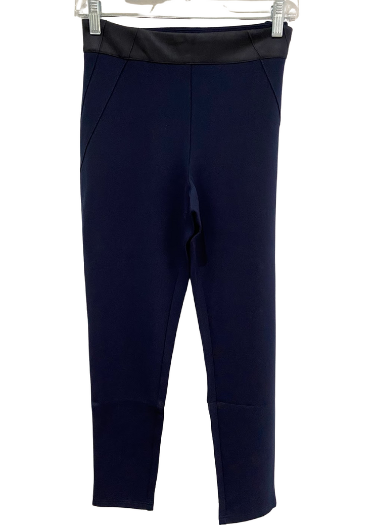 Legging with Suede Waistband Navy