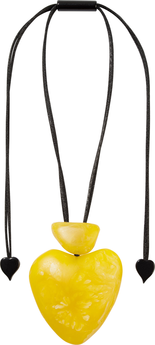 Organic Necklace Yellow Heart Solid