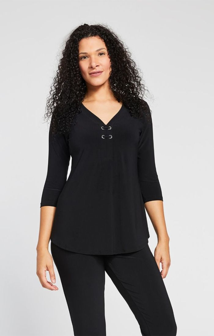 Sympli Halo Henley 3/4 Sleeve - Black