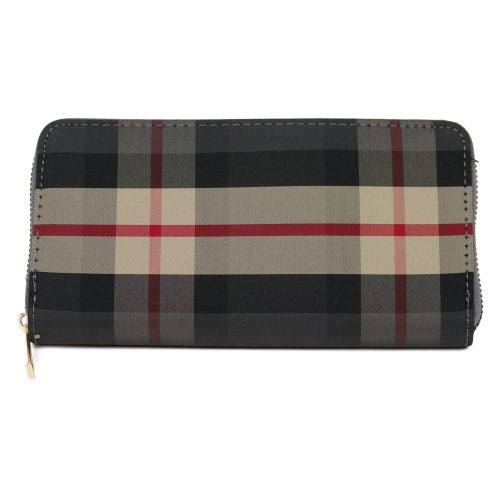 BROWN PLAID ZIPPER WALLET