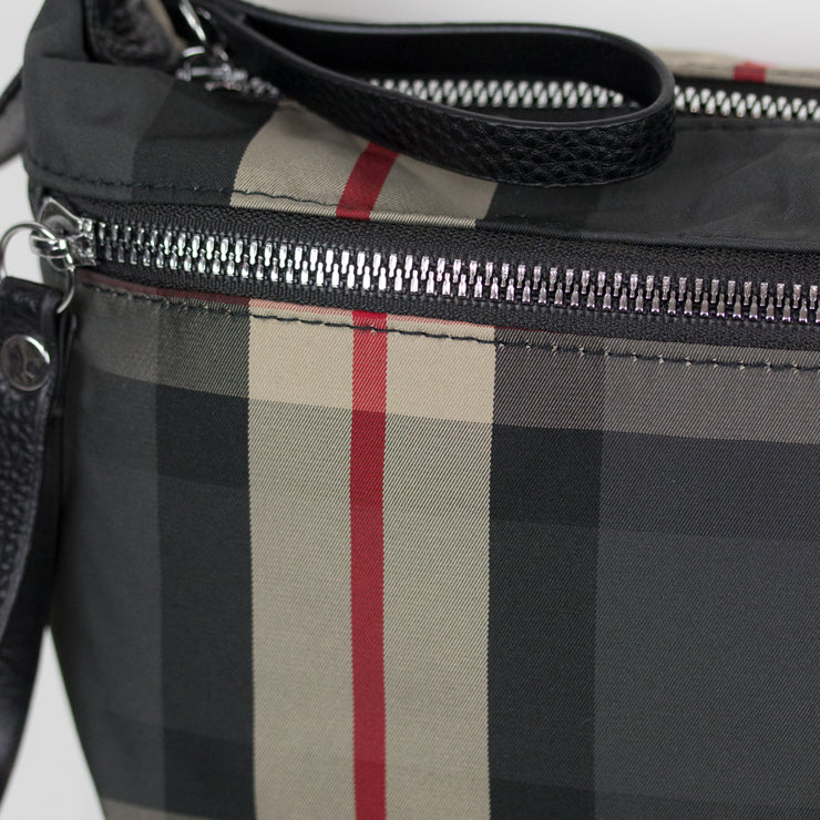 CROSSBODY COMPACT BROWN PLAID HANDBAG