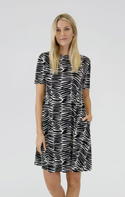 Shifted Stripe Short Sleeve Trapeze Dress
