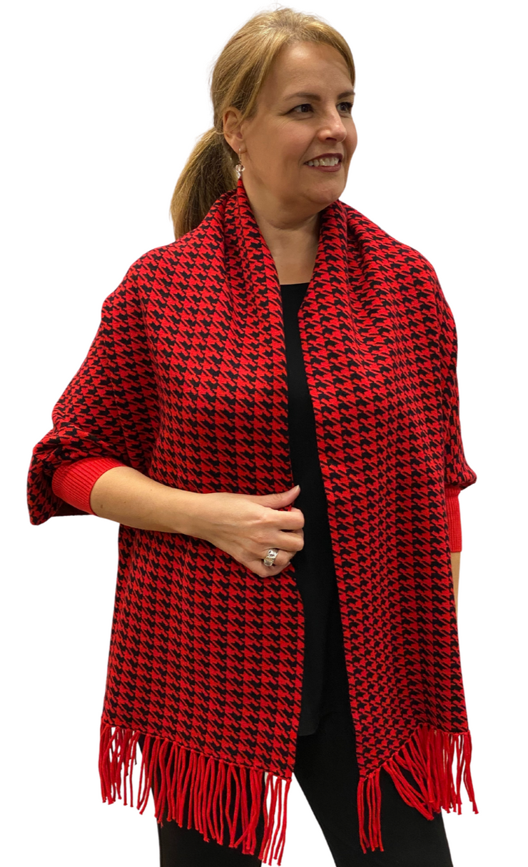 Red Houndstooth Cape