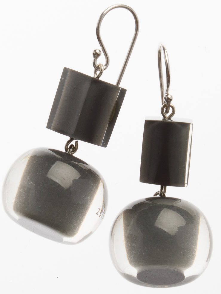 ZK Earrings Grey Ball and Cube