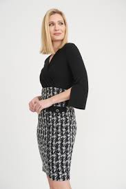 Houndstooth Skirted Dress with Faux Pockets