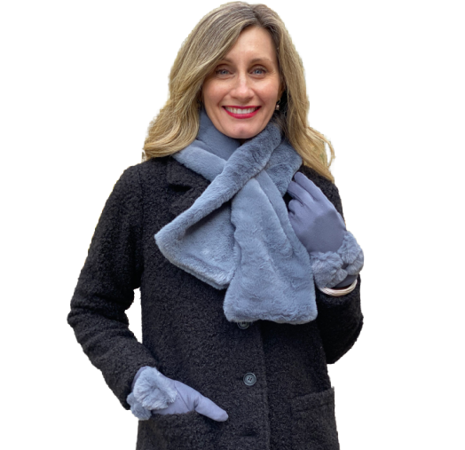 Grey Faux Fur Scarf with Bow Gloves