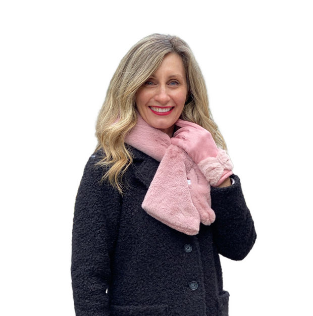 Pink Faux Fur Scarf Scarf with Bow Gloves