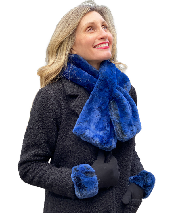 Blue 2 Tone Faux Fur Scarf and Gloves Set
