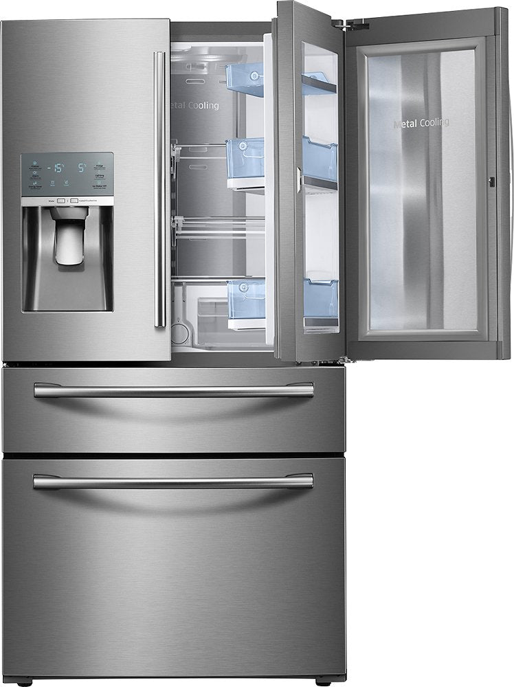 Samsung - 27.8 Cu. Ft. 4-Door French Door Refrigerator with Food ShowCase and Thru-the-Door Ice and Water - Stainless steel