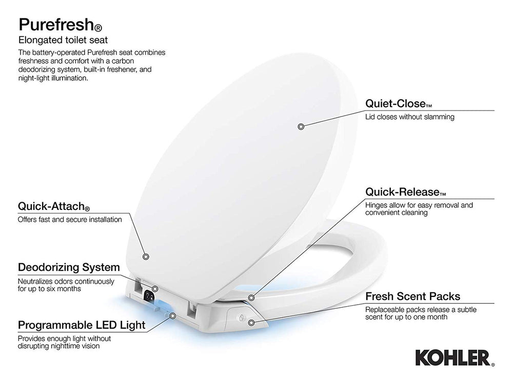 KOHLER K-5588-0 Purefresh Quiet-Close with Grip-Tight Bumpers Elongated Toilet Seat, White