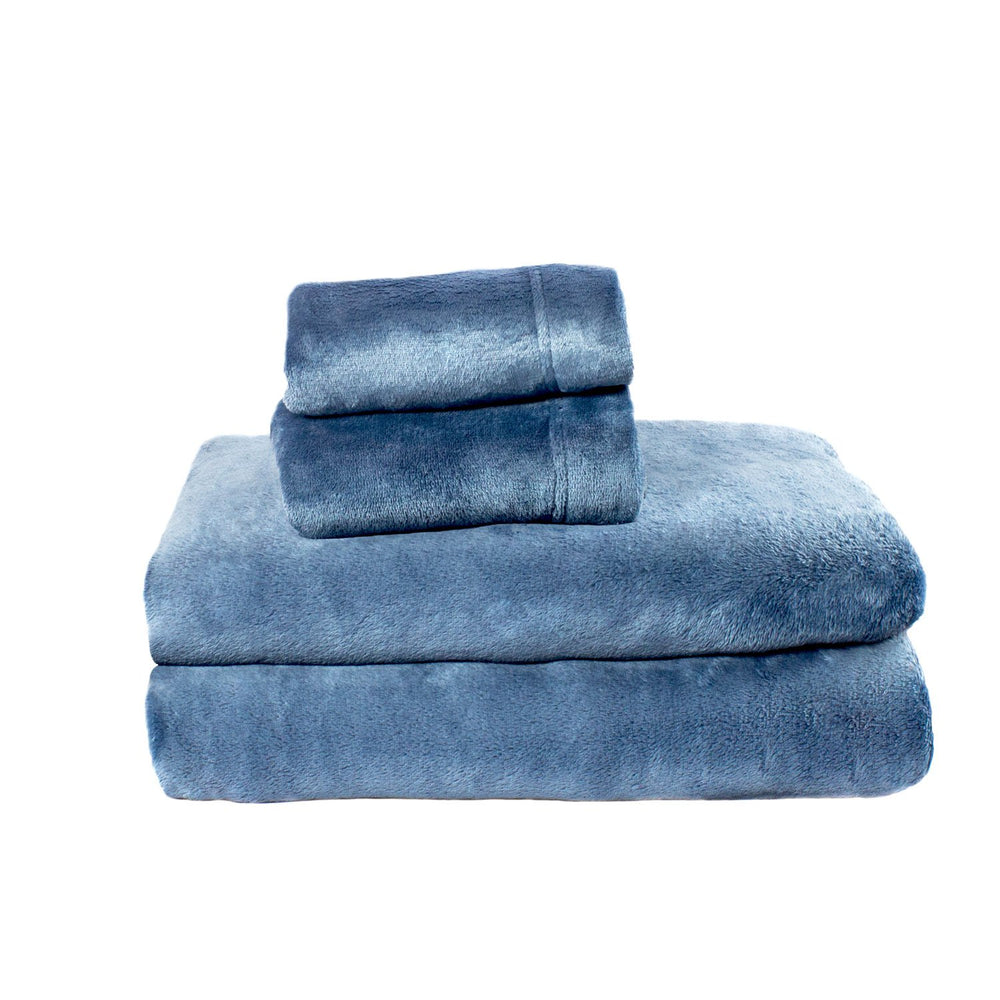 Cozy Fleece Comfort Collection Velvet Plush Sheet Set, California King, Denim, 1 Sheet Set
