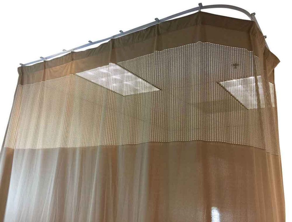 DevLon NorthWest Medical Curtains Privacy Hospital Cubicle Curtain With Flexible Track 10 Foot W x 9.3 Foot H Light Brown