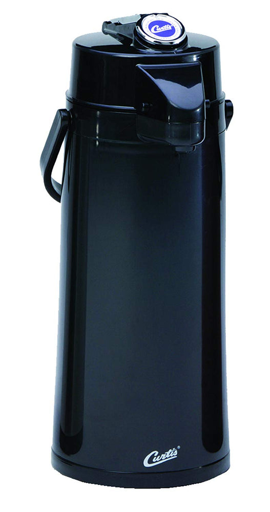 Wilbur Curtis Thermal Dispenser Air Pot, 2.2L Black Body Glass Liner Lever Pump - Commercial Airpot Pourpot Beverage Dispenser - TLXA2203G000