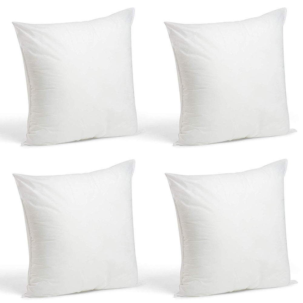 Set of 4-20 x 20 Premium Hypoallergenic Stuffer Pillow Insert Sham Square Form Polyester, Standard/White - Made in USA
