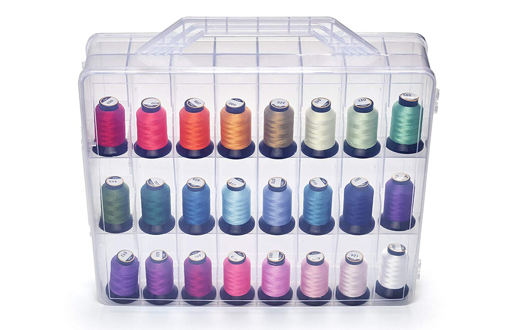 Bins & Things Thread Spools Storage Case | Nail Polish Organizer (48 Slots) Heavy-Duty Sewing, Embroidery, and Craft Box | Essential Oils Organizer | Travel-Friendly Carry Handle