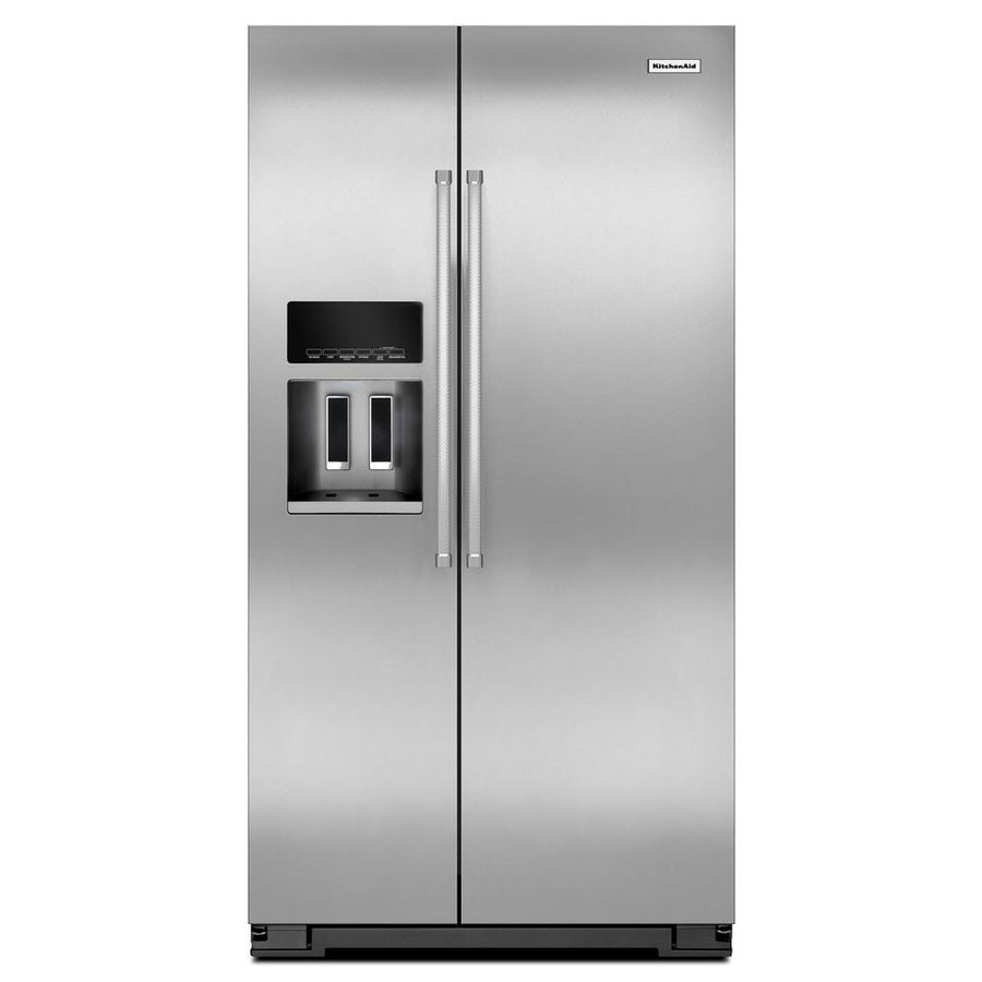 KitchenAid 19.9-cu ft Counter-Depth Side-by-Side Refrigerator with Ice Maker (Stainless Steel)