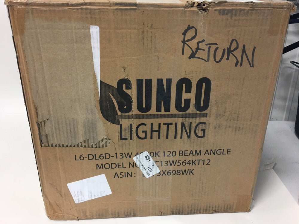 Sunco Lighting 12 Pack 5/6 Inch LED Recessed Downlight, Baffle Trim, Dimmable, 13W=75W, 4000K Cool White, 965 LM, Damp Rated, Simple Retrofit Installation - UL + Energy Star