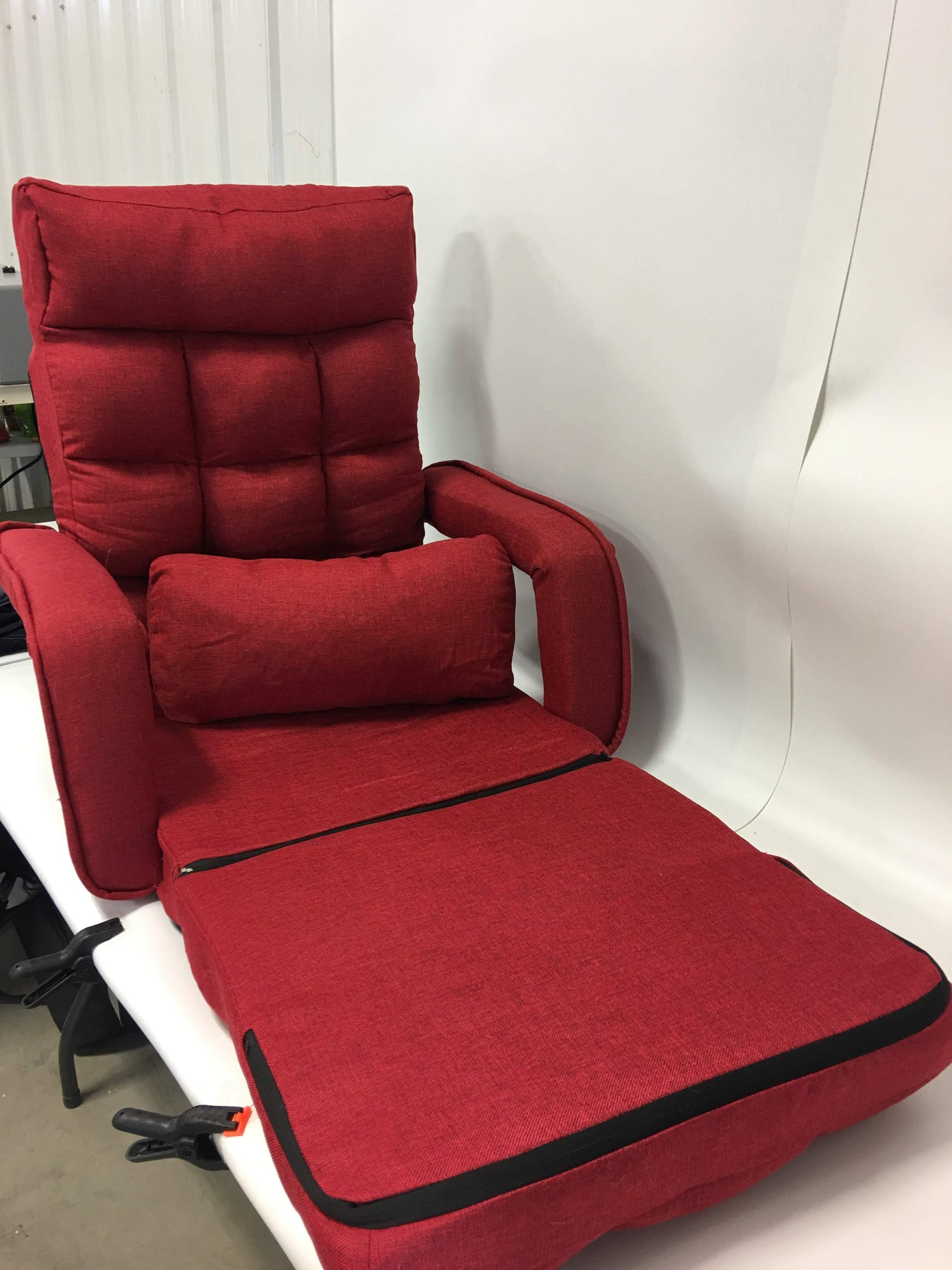 Brilliant Merax Folding Lazy Floor Chair Sofa Lounger Bed With Armrests And A Pillow Red Caraccident5 Cool Chair Designs And Ideas Caraccident5Info