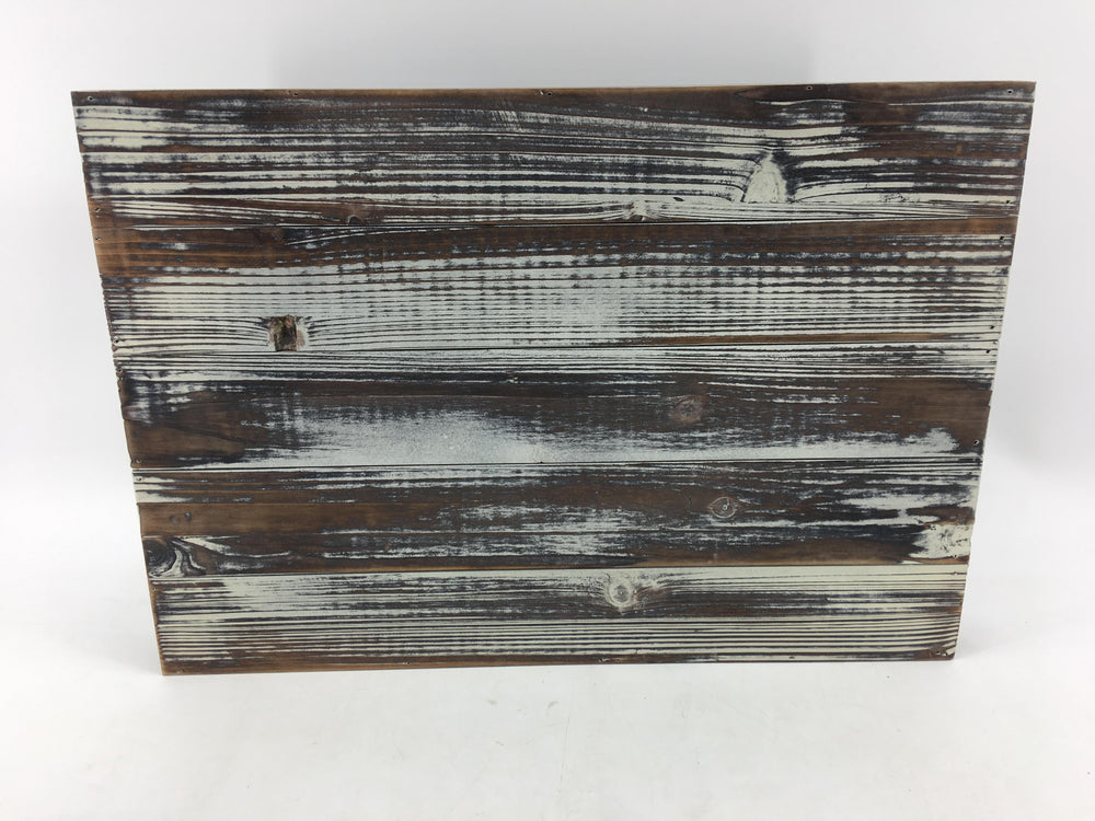 Distressed Torched Wood 20-Inch Serving Tray with Modern Black Metal Handles