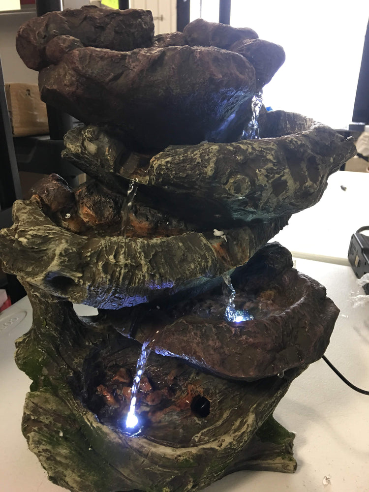 Sunnydaze Tabletop Fountain with LED Lights - 5-Step Rock Falls Indoor Waterfall Feature - Calming and Relaxing Water Sound - Small 14 Inch Desktop Size