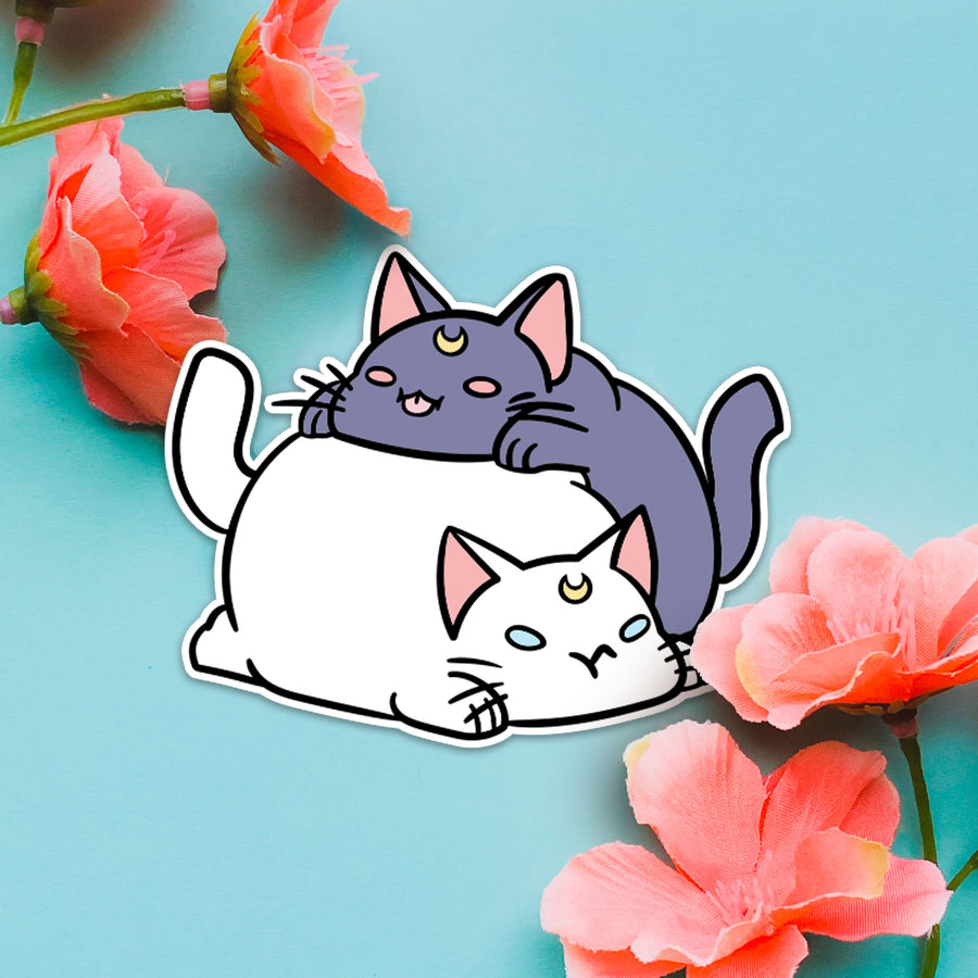 STICKER- Luna & Artemis Chonky CAT STACK