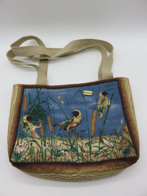 <span style='font-size:1em'>Bird Theme</span><br><span style='font-size:0.7em'>Quilted Tote Bag</span>